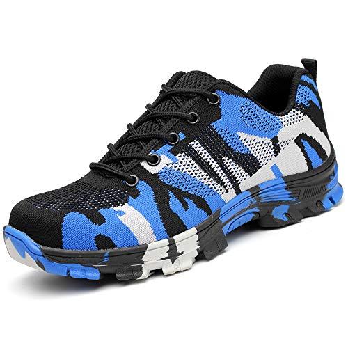Zapatos Trabajo Hombre Zapatillas de Seguridad Puntera de Acero Mujer Botas Proteccion Excursionismo Caminar Sneakers Antideslizante Plataforma Camuflaje de Azul 46