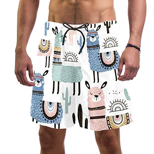 Süße Llama und Kaktus schnelltrocknende Herren-Badehose mit Tasche Gr. L/XL, mehrfarbig