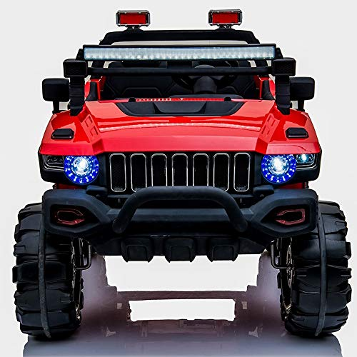 Model Car Seater 12V Kids Ride On Car Electric Truck Motorized Vehicles Child Two-seat Four-wheel Electric Car W/Remote Control Battery Powered, LED Lights, Suspension, Music, Horn Exclusive Collectib