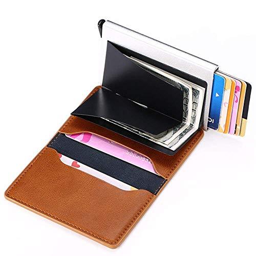 カードパック クレジットカードカードパッケージ 自動カードタイプ 金属アルミケース財布 盗難防止カードパッケージ シールド (Brown)