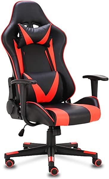 Gaming Office Racing Chair Desk Computer Ergonomic Adjustable Swivel Chair With Back Support And Neck Protection Racing Style 180 Reclining Rocking Black Red Red