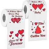 2 Rollos de Papel Higiénico Divertido de Día de San Valentín Papel de Amor Impreso con Corazón 4 Patrones Diferentes Regalo Romántico de Mordaza para Decoración de Boda Aniversario Cumpleaños