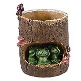 BESTOMZ Cactus Succulent Plant Pot Planter Flower Pot Pen Pencil Holder (Green Frog)