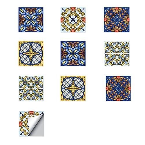 ZSFBIAO Pegatinas de Azulejos Adhesivo para Azulejos de PVC Azulejo Adhesivo Autoadhesivo Arte Mural Vinilo Decoración (Size:15CM*15CM*10PCS,Color:3 Set)