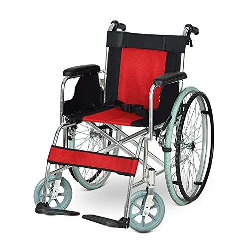 Faltbare Rollstühle mit Selbstantrieb Transport Rollstühle Ergonomische ältere Menschen Behinderte Medizinische Rehabilitation Rollstuhl Rot