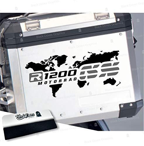 2 adhesivos bicolores para maletas laterales compatibles con R 1200 GS y Adventure mapa Touratech Givi R1200GS R1200 (negro-gris)
