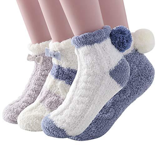 Skola Super Soft Cozy Winter Warm Slipper Socks Womens Anti Slip Grip Fuzzy Pom Pom Socks 4 Pairs(Blue series)