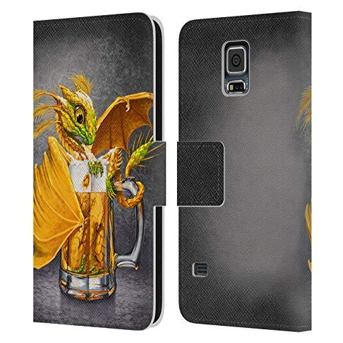 Head Case Designs Ufficiale Stanley Morrison Bevanda di Birra Ambrata in Tazza Draghi Cover in Pelle a Portafoglio Compatibile con Samsung Galaxy S5 / S5 Neo