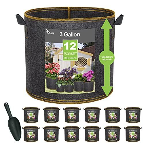 YANZ 12 Piece 3 Gallon Wipstitch Grow Bags