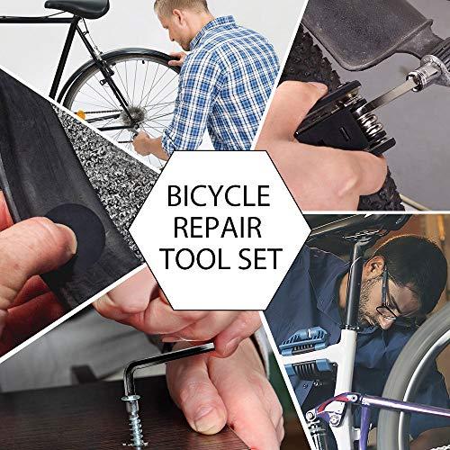 Fahrrad-Multitool, Migimi 16 in 1 Werkzeuge für Fahrrad Reparatur Set Multifunktionswerkzeug Reparatur Fahrradwerkzeug Tool, Werkzeugset Fahrrad mit Tasche, Selbstklebendes Fahrradflicken usw - 4