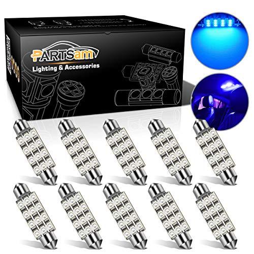 Partsam Blue 42mm Festoon 12-3528-SMD Car Interior Dome Map Reading LED Light Bulbs (Pack of 10)