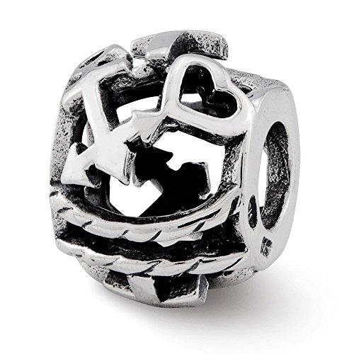 Hermosa plata esterlina reflexiones cruz, corazón, ancla Bali Bead