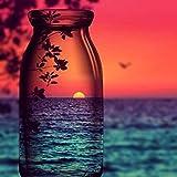 Sunset botella de vino paisaje bricolaje kit de dibujo 5D para adultos y niños, bordado de diamantes completo, arte de pintura pegada con diamantes de imitación de crista(diamante cuadrado 30 * 40 cm)