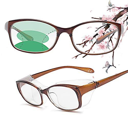 JIMMY ORANGE老眼用花粉症メガネ 遠近両用 曇り止め UVカット ブルーライトカット 防塵 おしゃれ メンズ レディース RG201 ブラウン +2.50