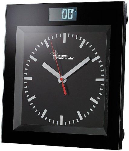 newgen medicals Körperwaage: Digitale Personenwaage mit Analoguhr im Bahnhofsdesign (Personen-Waage)