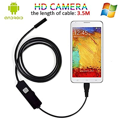 3.5M Android OTG Endoscope, 7MM Lens Functional Inspection Snake Camera Tube USB 2.0 MP HD Borescope With 6Pcs LED ( Waterproof IP67)