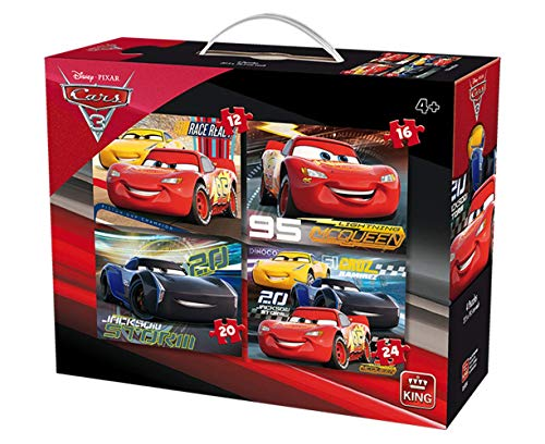 King 5504 Disney 4-in-1 puzzel Cars (12/16/20/24-delig) - 4 puzzels in koffer