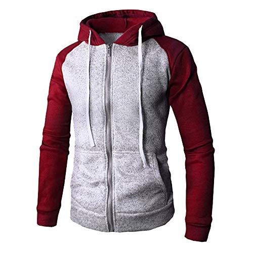 VEMOW Mode Gut Aussehend Mens Herbst Winter Zip Casual Passende Farbe Dünne Tasche Fit Hoodies Casual Täglich Sport Freizeit Jacke Mantel(Rot, 50 DE/L CN)