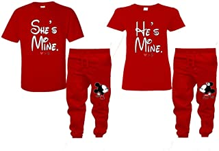 She's Mine He's Mine Couple Shirts, Kissing Mickey Minnie Matching Joggers