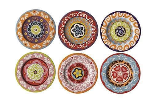 Rose & Tulipani Teller Nador, mediterraner Stil, bunt, 6 Verschiedene Teller, 13cm