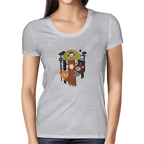 Texlab Damen Ewok Community T-Shirt, Grau Meliert, XL