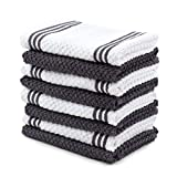 Sticky Toffee Cotton Terry Kitchen Dishcloth Towels, 8 Pack, 12 in x 12 in, Gray Stripe