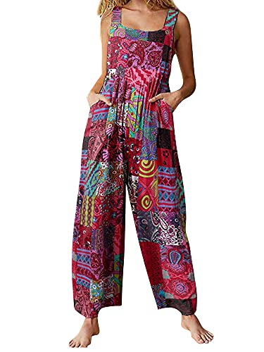 Womens Jumpsuit Suspender Wide Leg Overall Loose Bib Overalls, Summer Boho Button Up Baggy Jumpsuits Wide Legged Harem Pants