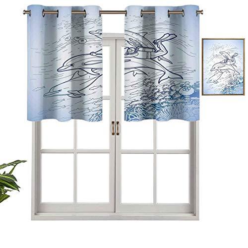 Hiiiman Cortina corta con ojales para ventana, diseño de buceo, aleta de delfín sobre arrecifes de coral y peces bajo el agua, juego de 2, 106,7 x 60,9 cm para baño y cocina