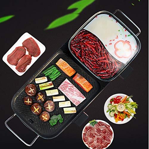 GGG Elektrische kookplaat, zonder rook, elektrische grill, anti-aanbaklaag, fondue, apparaat, grill, braadpan, multifunctioneel, One Pot