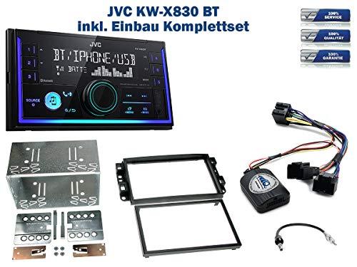 Autoradio Einbauset geeignet für Chevrolet Aveo | Captiva inkl. JVC KW-X830BT & Lenkrad Fernbedienung Adapter in Schwarz