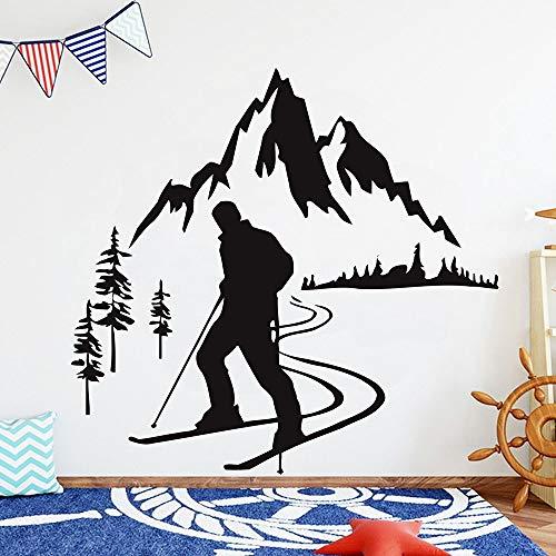 Etiqueta de la pared de esquí esquiador nieve montaña pino árbol aventura deportes de invierno vinilo pegatina sala de estar dormitorio adolescente decoración del hogar arte