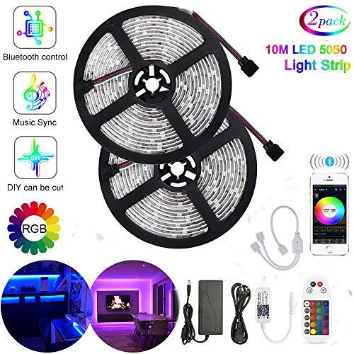 10M Bluetooth LED Streifen 300 LED Stripes mit Smart APP Kontrolliert,5050 Lichtschläuche LED Lichtband 12V 5A mit 24 Tasten Fernbedienung für Weihnachten, Party, Haus Deko