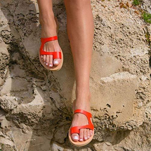 QLIGHA Sandalia de corrección de Dedo Gordo para Verano Mujer Chanclas de Cuero Sandalias de corrección de juanete Corrector de juanete ortopédico Sandalias de cuña de Plataforma cómoda, Rojo, 43