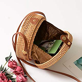 Handwoven Around Rattan Bag Natural Woven Crossbody Bag for Women Vintage Straw Purse with Leather Shoulder Strap