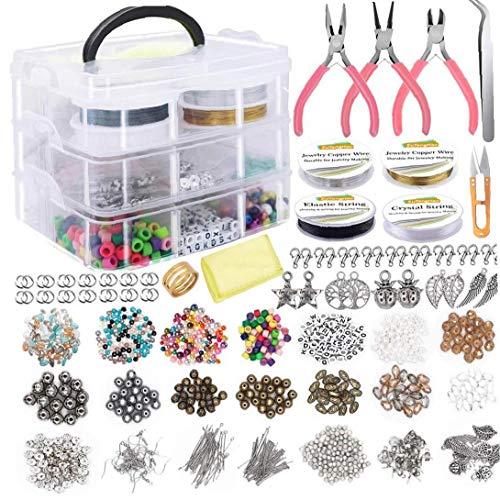 NaisiCore Suministros fabricación de Joyas Pendiente DIY Kit Set con Cuentas Alicates rebordeando el Alambre de Pulsera Pendientes Collar 1171PCS