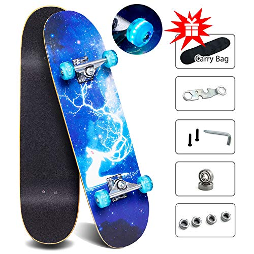 Complete Skateboards for Kids Adults, 31' x 8' Standard Skate board with Colorful Flashing Wheels for Beginners Boys Girls age 7+, 9 Layer Canadian Maple deck Pro Longboard Skateboards with Repair Kit