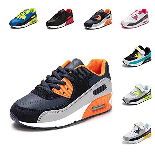 Zapatillas Deportivas Niño Niña Zapatos de Correr Antideslizante Zapatillas Deporte para Niños Cordones Gimnasio Ligero Transpirable Naranja 29 EU