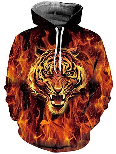 Goodstoworld Feuertiger Hoodie Herren Pullover Damen 3D Hoodie Sweatshirt Kapuzenpullover Neuheit Langarm Lustig Kapuzenjack M