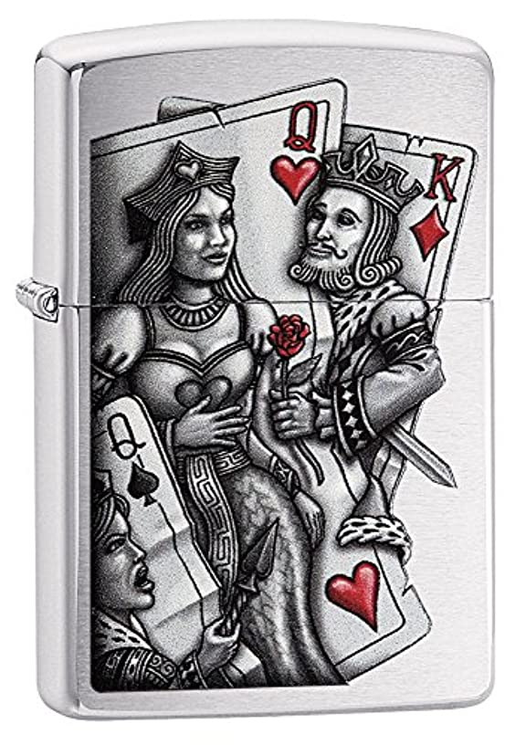 Zippo Lighter: King and Queen - Brushed Chrome 79206