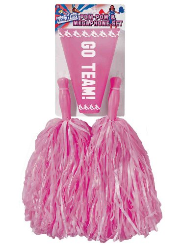 Pink Cheerleader Pom Poms and Megaphone