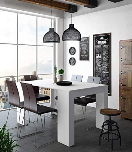 Home Innovation- Konsoletisch, Esstisch ausziehbar bis 140 cm, Esszimmertisch und Wohnzimmertisch, rechteckig, Farbe weiß glänzend, Maße geschlossen: 90x50x78 cm. Bis zu 6 Sitzplätze.