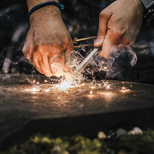 "überleben Hexå Fire Starter   3"" x 1/2"" Thick Hexagon Bushcraft Fire Steel   20,000 Strikes   Survival Ferro Rod   Multi-Tool Striker & Full Grain Leather Lanyard"