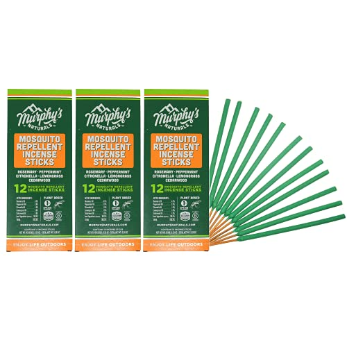 Murphy's Naturals Mosquito Repellent Incense Sticks | DEET Free with Plant Based Essential Oils | Reduced Footprint Packaging | 2.5 Hour Protection | 12 Sticks per Carton | 3 Pack