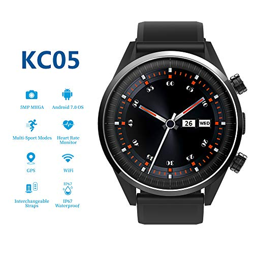 HouseMao 4G Smartwatch, KC05 LTE Smart Watch for Android & iOS Phone with MTK 6739 Quad Core 1GB+16GB, SIM Card, 1.39″ AMOLED Screen, Bluetooth, HR GPS, 5MP Camera & Heart Rate Monitor (Black)