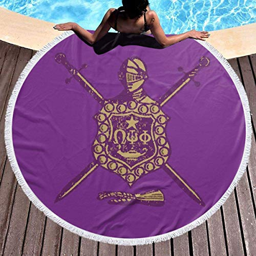 XIUZHEN Omega Psi Phi Beach Towel, Large Round Beach Towel with Tassels, Beach Blanket Sand Proof Oversized Yoga Mat Towel 59 Inches