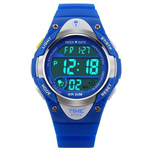 Time Style® Orologio digitale per bambini, design sportivo, per ragazze, ragazzi, 50 m WR, ora, data, retroilluminazione EL, suoneria oraria, cronometro, sveglia, blu orologio da polso per bambini