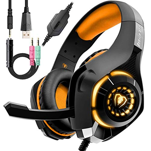 Wired Orange Gaming Headset for PS4, Over-Ear PC Headphones As Gifts, Gamer Headset with Noise Cancelling Mic LED Light Crystal 3D Bass Surround Sound, Memory Foam Earpad for Mac, Laptop, Mobile