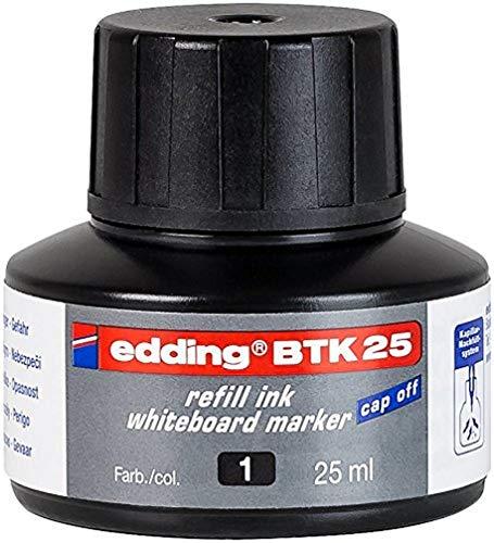 edding BTK25 Whiteboardmarker Nachfülltinte - Inhalt: 25ml - Farbe: schwarz - Tusche für Whiteboard-Stifte - Flasche mit Kapillarsystem
