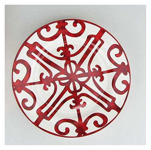 JSJJARF Vajillas Placa de Cena de China de Hueso Español Rejilla roja Plato de diseño de Placa de diseño Conjuntos de vajilla (Color : 20cm Plate)