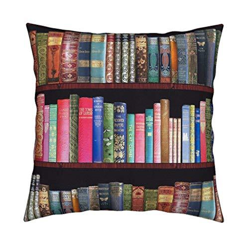 Qui556 Magentarosedesigns Cuscino Decorativo per libreria, Motivo: Libri antichi Jane Austen, 45 x 45 cm